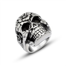 Stainless Steel Skull Flower Grass Manufacturers Stock Supply Wholesale Ring Jewelry 2017