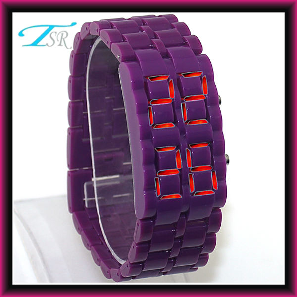 2013 faceless iron samurai lava blue led watch with plastic band new products for 2013 hot in USA