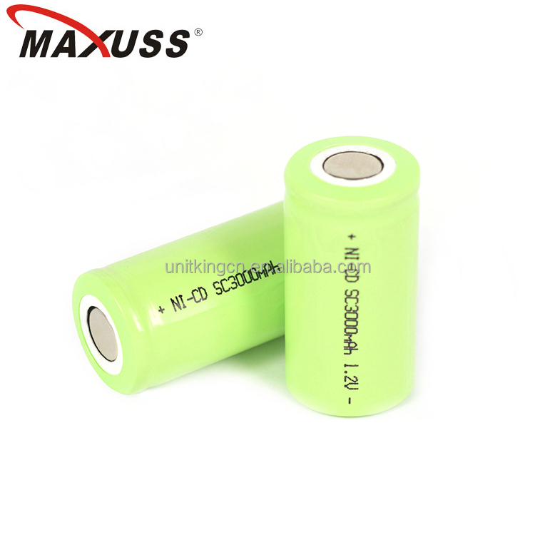 High energy density 3000mAh rechargeable Ni CD 1.2v sc3000 battery cell