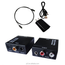 3.5MM Optical Coaxial Toslink Digital Audio to Analog RCA R/L Audio Converter Adapter with Power Adapter