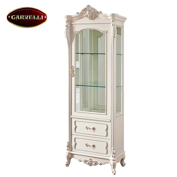 118(W) French provincial living room furniture hand carving wine cabinet