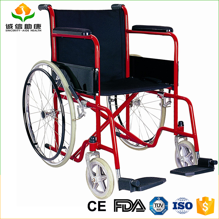 Detachable armrest and detachable footrest Steel wheels wheelchairs price