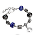 Rinhoo Hot-sales fashionable alloy chain lampwork beads bracelet Alloy bead best friends charm bracelet