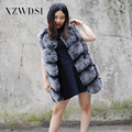 CX-G-B-243B Womens Black Frost Long Section Fur Vest From China