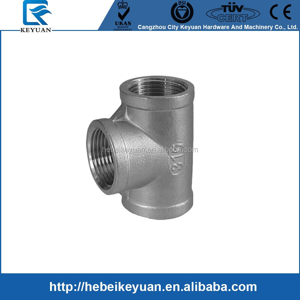 "Class 150 Pipe SS304 Pipe Fitting,Cast Stainless Steel Grade 304, Tee, 1/2"" NPT Female Threads"