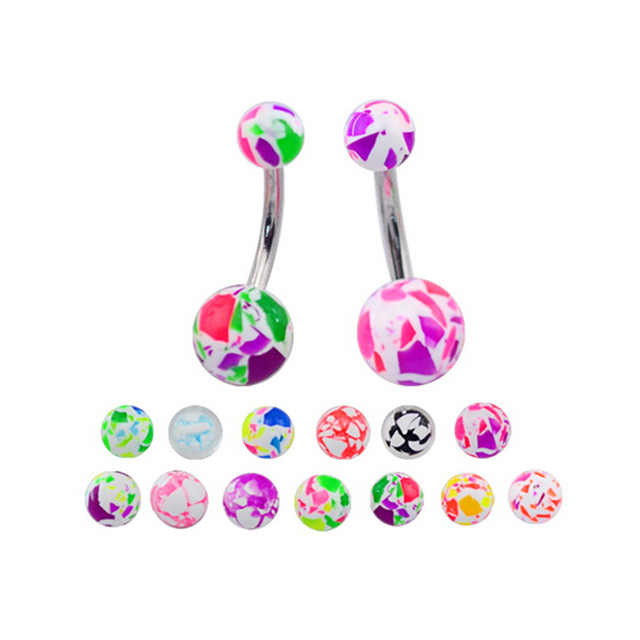 BR01602 Multi-color piercing plastic belly ring navel piercing ring, 316l stainless steel jewelry, fashion crystal jewelry
