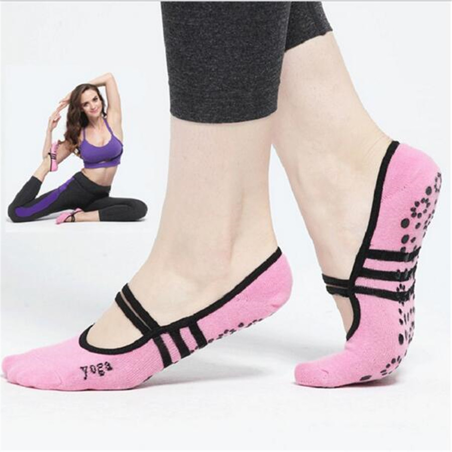 Women Anti Slip Bandage Cotton Sports Yoga Socks Ladies Ventilation Pilates Ballet Socks Dance Sock Slippers 5 Colours
