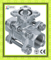 Q11F-64P 3 PC NPT female ball valve with high mounting pad