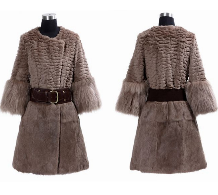 YR467 Hot Sale Genuine rabbit Fur <strong>Coat</strong> O-neck <strong>3</strong>/4 sleeves with Raccoon Fur cuff