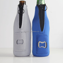 Neoprene Zip Stubby Bottle Holder/Single Beer Bottle Cooler with opener