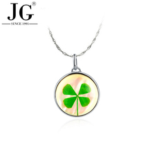 PA7424 dried four leaf clover specimen necklace , 925 sterling silver round shape pendant jewelry