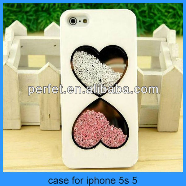2014 wholesale rhinestone phone case Cute Fashion Bling Love Heart Diamond Crystal Case Cover For iPhone 5 5s 4 4s(PT-I5246)