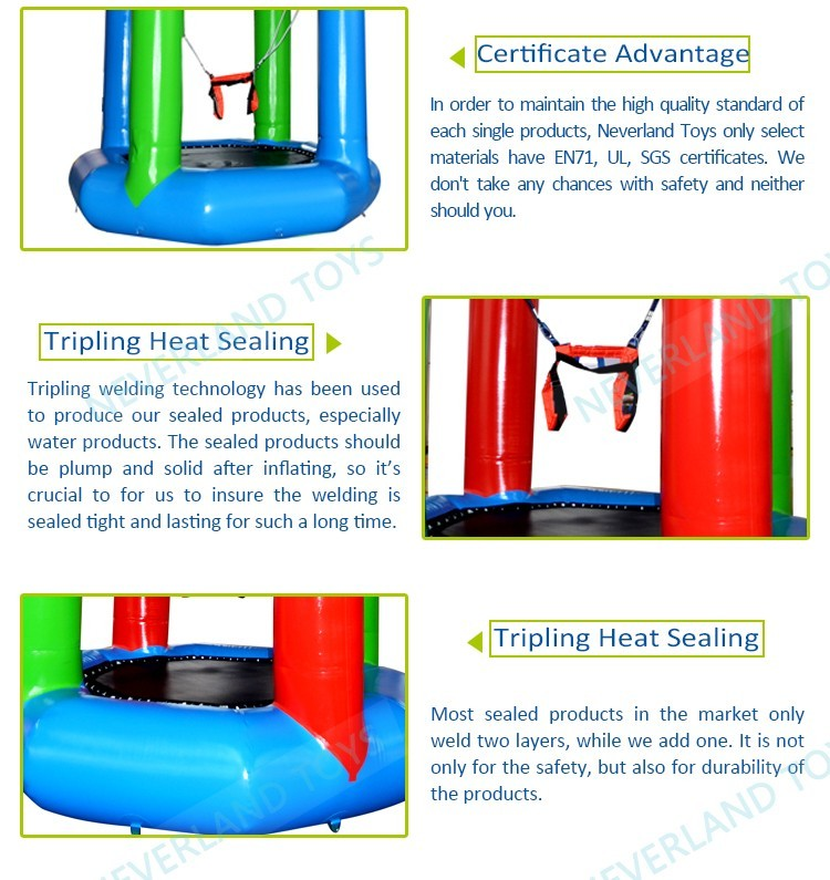 Neverland Toys inflatable swing water toys adults water trampoline for sale