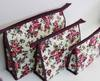 cosmetic cotton printiing and quilting bag purple roses set 3