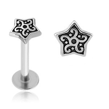 Surgical Steel Internal Threaded Tribal Star Labret