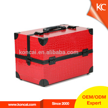 Exquisite beauty red leather covered wood cosmetic gift set packaging storage box