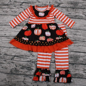 Custom children boutique clothing set baby girls children clothes girls wholesale halloween outfits for girls