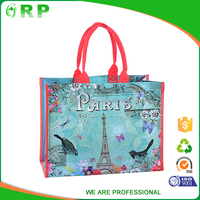 Famous brand blue foldable big capacity rose pattern pp woven shopping bag