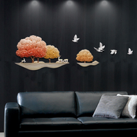 Metal Wall Art,DIY Popular Landscape Wall Wall-mounted Paintings,Big Size 3D Unique Wall Paper For Home Accessories