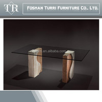 Decorate Marble base dining table with tempered glass top