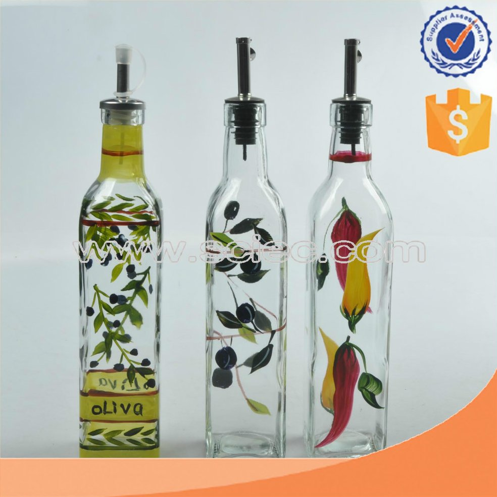 500ml Printed Wholesale olive oil glass bottle