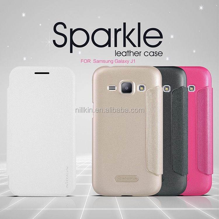 Nillkin Mobile phone case for samsung galaxy j1 Sparkle Flip cover hard plastic back Case For samsung galaxy j1