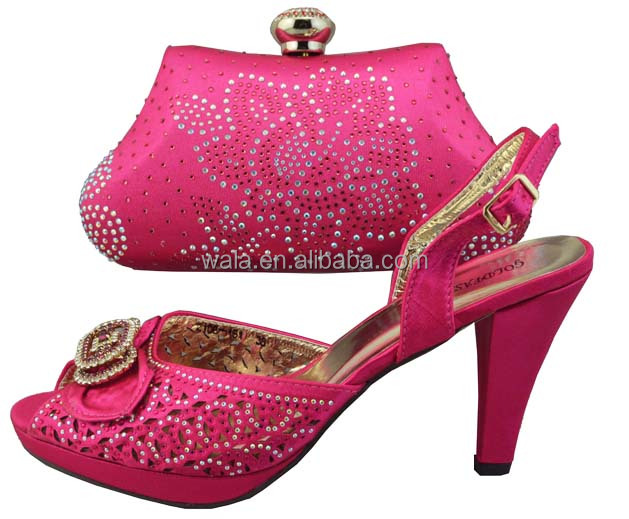2014 Gorgeous Italian Matching Shoe And Bag SB712 fuchsia