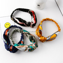 ourui free sample European retro simple style duotone knot cloth <strong>headbands</strong> for girls