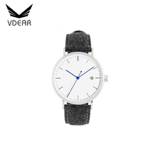 Fashion watch quartz analog water resistant watches men brand with genuine leather
