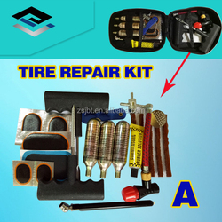 Motorcycle tubeless tire repair and puncture kit with 16g CO2 cartridges
