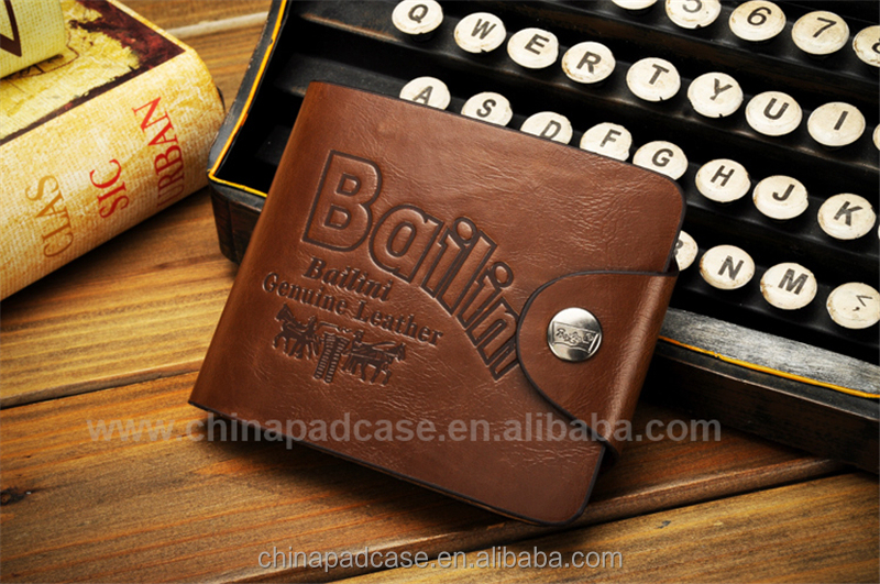 Hot sale low price branded leather casual snap clutch men wallet bailini wallet