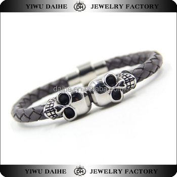 Daihe black stainless steel double skull leather braceletwholesale