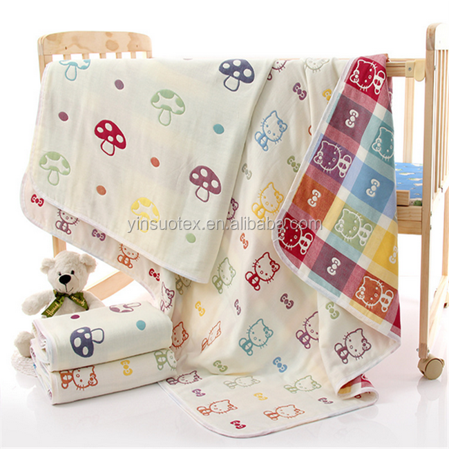soft 100% cotton double jacquard 6 layers gauze baby blanket breathable baby cotton quilt blanket