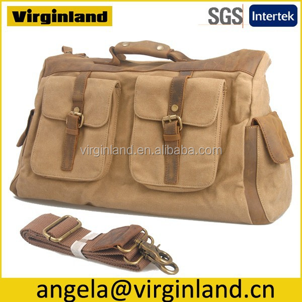 6858 Stylish Utility Men Khaki Canvas Portable Travel Bag with Leather Handle and Long Shoulder Strap
