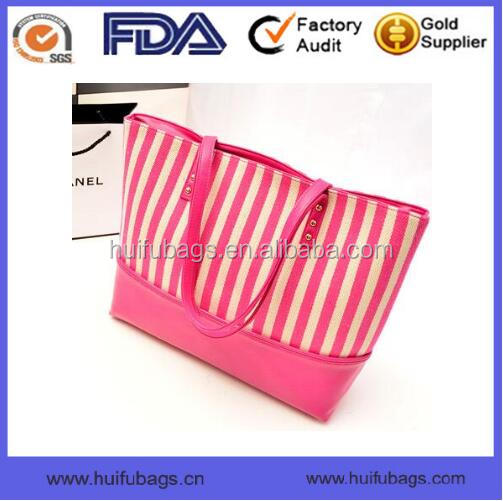 pink canvas and pu handbags in summer Top selling canvas and pu handbags for ladies