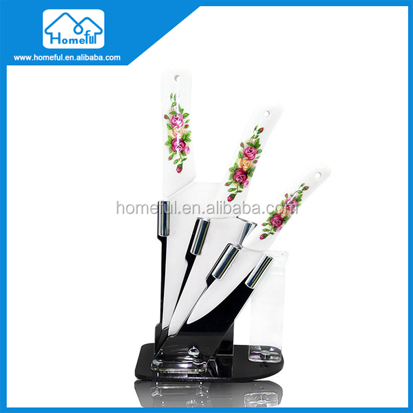 3pcs printing flower ceramic kitchen cooking knife set with acrylic stand japanese sushi knife