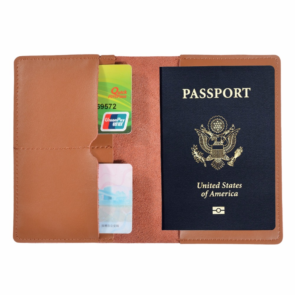 cow Leather Passport Holder Travel Wallet For MenWomen