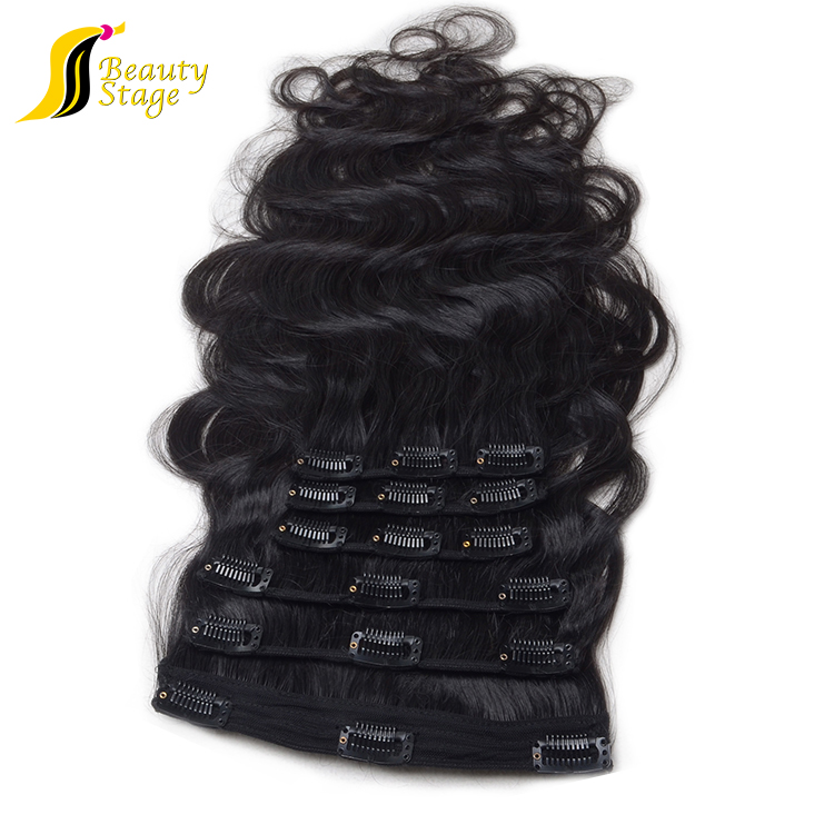 virgin human remy hair Double weft shedding free popular brazilian hair extension clip on