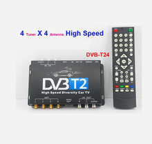 DVB-T24 Car DVB-T2 TV Receiver 4 Tuner 4 Antenna USB dvb-t transmitter portable indian channels set top box