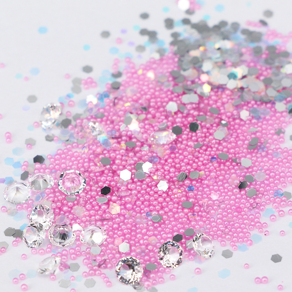 New 3D nail art 6 colour symphony paillette fairy beads clarity tip rhinestone decorations in a 4cm box
