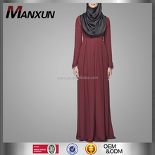 Top quality wine red pleated abaya popular design muslim women dress