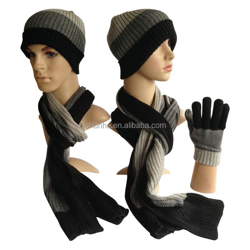 wholesale men and women winter adult hat gloves and scarf set