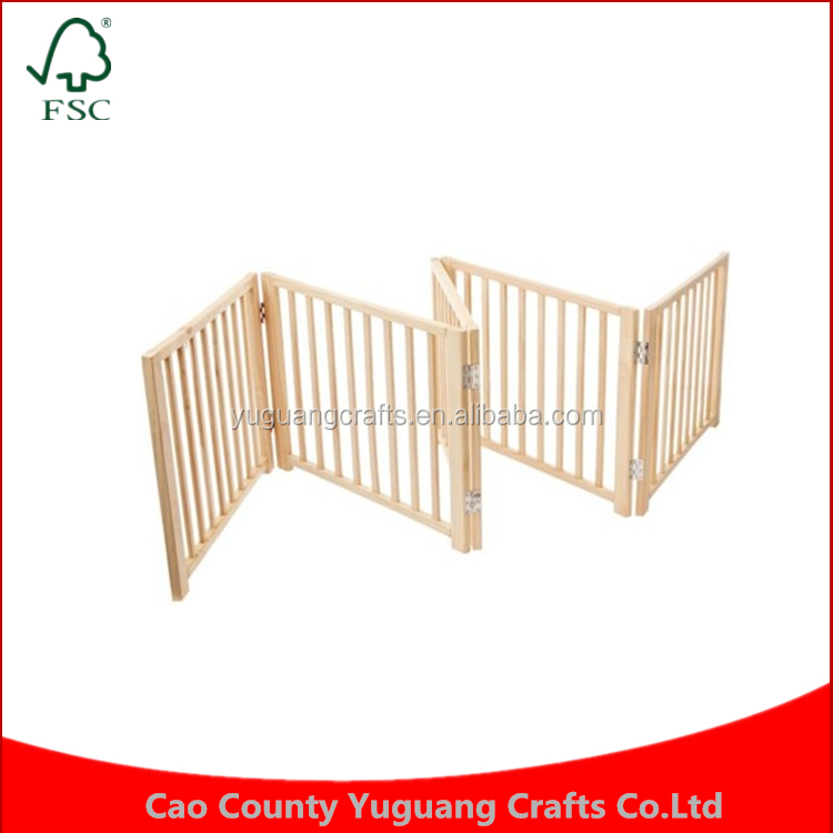 Pet Fence Indoor Free Standing Cat Walk Over 5 Panel Solid Wood Folding Dog Gate