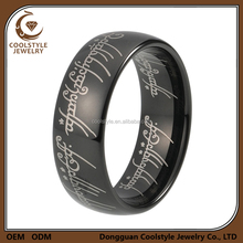 Tungsten jewelry lord of the ring customized black engagement ring for men