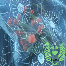 Blue daisy embroidery mother of the groom dresses water soluble fabric