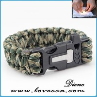 350/480/550Paracord firestarter camping paracord surviva bracelet with multifunction buckle , make fire, knife and whistle