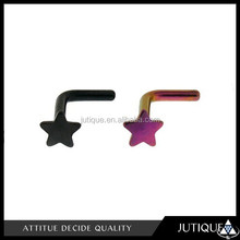 china wholesale 14G Nose Stud L Shaped with a 3mm Star Top and has a 6mm Wearable area