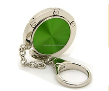 Fancy green bag hanger key chain metal chains for purses