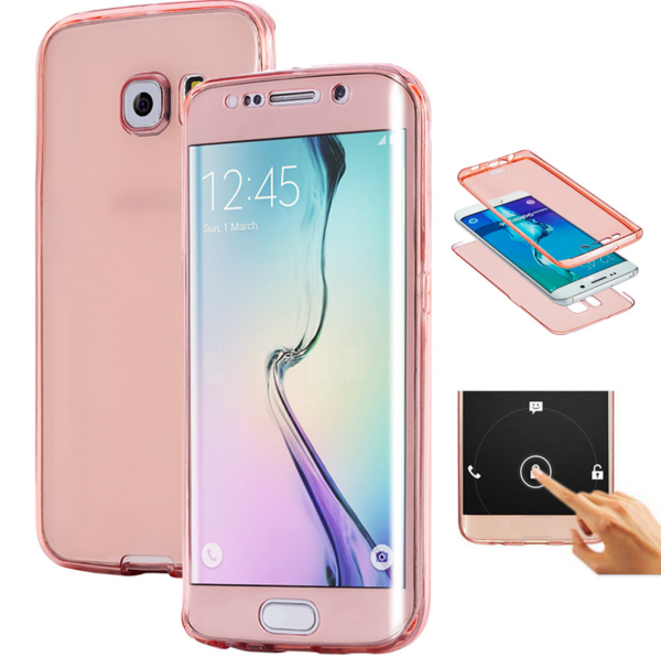 S6 S7 Edge Plus Transparent Full Body Front and back Case for Samsung Galaxy s7 edge 360 Soft TOUCH SCREEN 2in1 TPU Cover