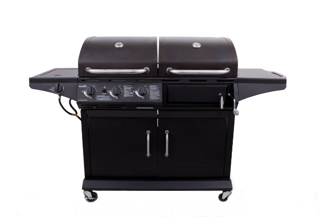 Cast Iron Gas Charcoal 2-in-1Combo Combination Hybird Multifunction BBQ Barbecue Grills with Side Burner & Cabinet for Cooking